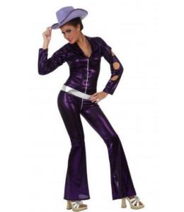 Disfraz de Disco buzo morado mujer