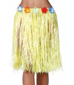 Falda hawaiana con flores de 55 cm Amarilla