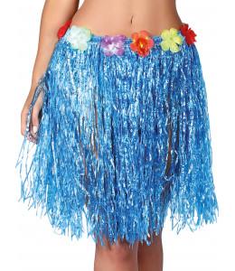 Falda hawaiana con flores de 55 cm Azul