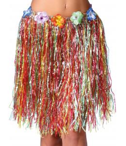 Falda hawaiana con flores de 55 cm Multicolor