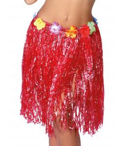 Falda hawaiana con flores de 55 cm Rojo