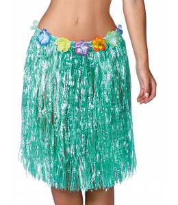 Falda hawaiana con flores de 55 cm Verde