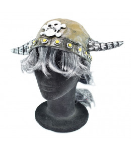 Casco Vikingo de Latex con Pelo