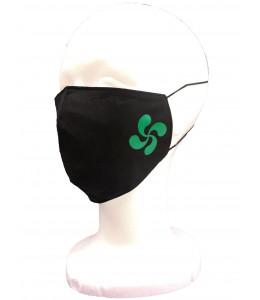 Mascarilla Tela Negra Lauburu Verde