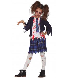 Disfraz de Zombie Estudiante Niña Infantil
