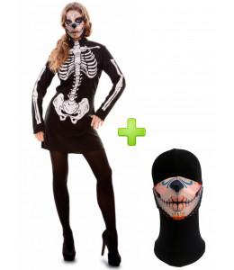 Disfraz de Catrina Vestido Esqueleto con Mascarilla