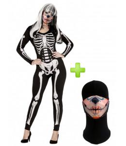 Disfraz de Catrina Esqueleto con Mascarilla
