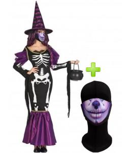 Disfraz de Bruja Esqueleto con Mascarilla