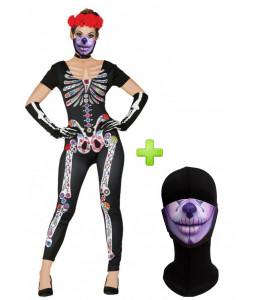 Disfraz de Catrina Buzo Esqueleto colores con Mascarilla