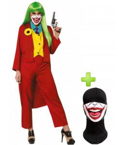Disfraz de Joker Rojo mujer con mascarilla