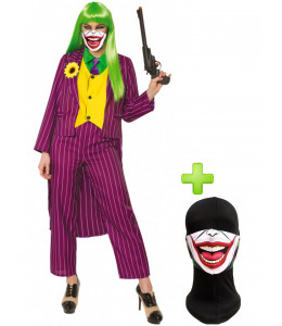 Disfraz de Joker mujer con mascarilla