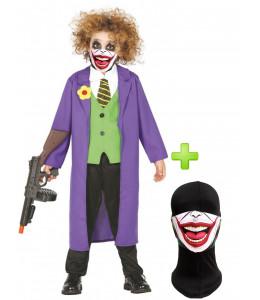 Disfraz de Joker morado infantil con mascarilla