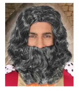 Peluca y Barba de Rey Mago Gris