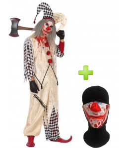 Disfraz de Payaso Asesino Arlequin Sangriento con mascarilla