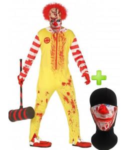 Disfraz de Payaso Asesino Burger con mascarilla