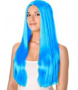 Peluca Melena Larga Azul Claro