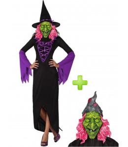 Disfraz de Bruja Morada con Mascara