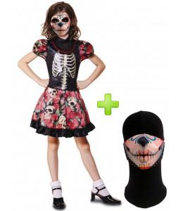 Disfraz de Catrina flores infantil con mascarilla - Disfraces Halloween