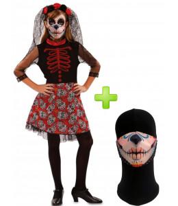 Disfraz de Catrina Roja infantil con mascarilla - Disfraces Halloween