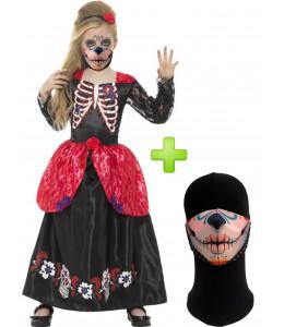 Disfraz de Catrina Negra infantil con mascarilla - Disfraces Halloween