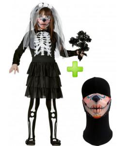 Disfraz de Novia Esqueleto infantil con mascarilla - Disfraces Halloween