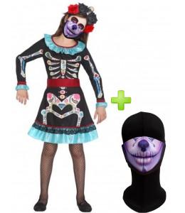 Disfraz de Catrina Azul infantil con mascarilla - Disfraces Halloween