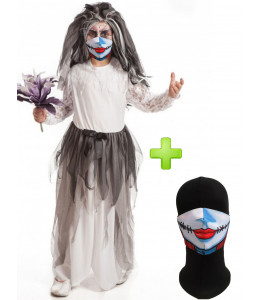 Disfraz de Novia Cadaver con Mascarilla infantil - Disfraces Halloween