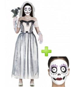 Disfraz de Novia Cadaver con Mascara para adulto - Disfraces Halloween
