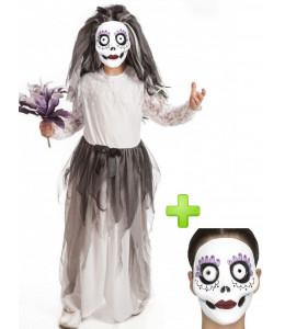 Disfraz de Novia Cadaver con Mascara infantil - Disfraces Halloween