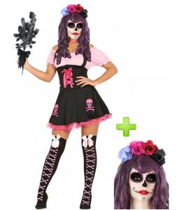 Disfraz de Catrina Rosa - Disfraces Halloween