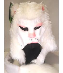 Mascara de Gato Blanco con Cola