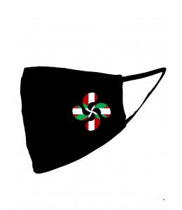 Mascarilla negra Lauburu Ikurriña (Homologada)