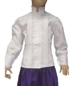 Camisa Casera Niña con Puntillas Blanca