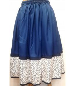 Falda Casera Azul Oscuro y bies flores Araotz