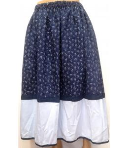 Falda Casera Azul Oscuro Flores y bies claro Araotz