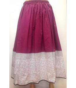 Falda Granate con Bies de flores Tricolor