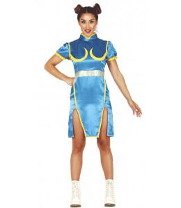 Disfraz de Luchadora Fighter Azul