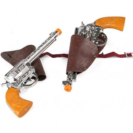 Pistolas con Cartuchera Marron Vaquero