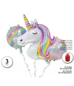 Bolsa de 3 Globos set Unicornio