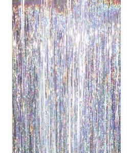Cortina de Flecos Plateado Holografico 1x2m