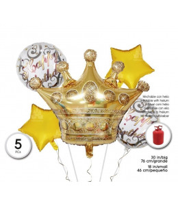 Bolsa de 5 Globos set Corona