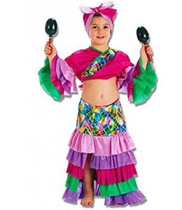 Disfraz de Cubana Morada Niña