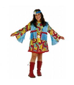 Disfraz de Hippie Azul Niña