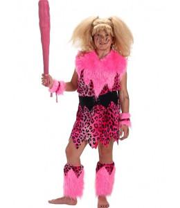 Disfraz de Cavernicola Rosa con Porra Niña