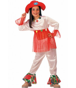 Disfraz de Hippie Blanca Niña