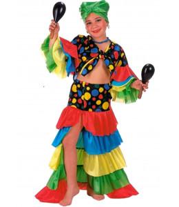 Disfraz de Cubana Colores Niña