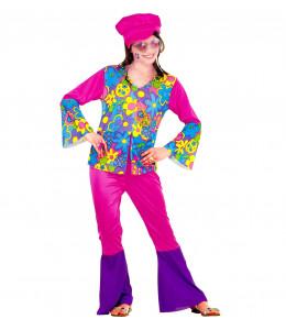 Disfraz de Hippie Rosa Niña