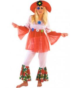 Disfraz Hippie Blanco Mujer