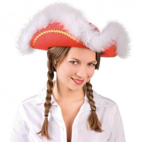 Sombrero Almirante Tres Picos Rojos