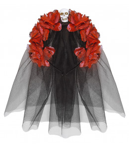 Diadema 6 Rosas Rojas con Calavera y Velo
